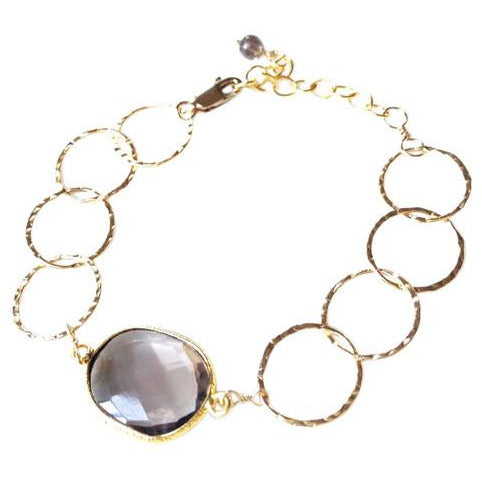 Alla Smoky Quartz Stone Circle Chain Bracelet