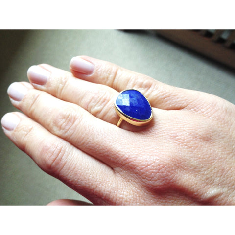 Amia Gold Lapis Ring