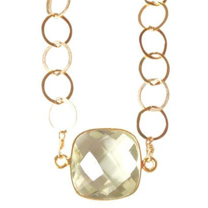 Amia Lemon Quartz Gold Circle Necklace