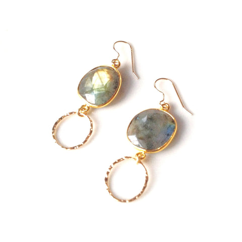 Bali Labradorite Bezeled Single Drop Earrings