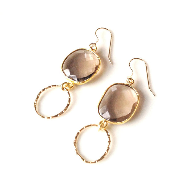 Bali Smoky Quartz Bezeled Drop Earrings