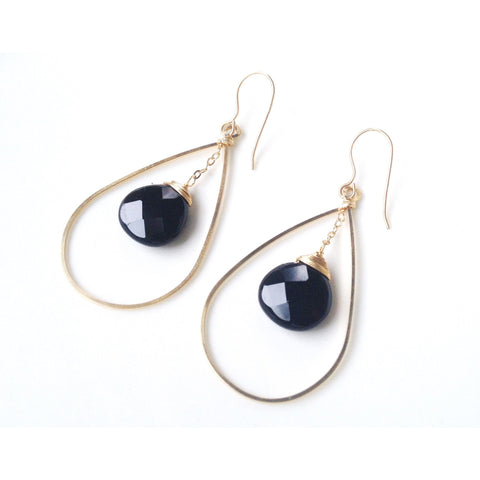Bari Black Stone Circle Drop Earrings