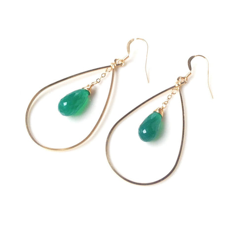 Bari Green Onyx Circle Drop Earrings