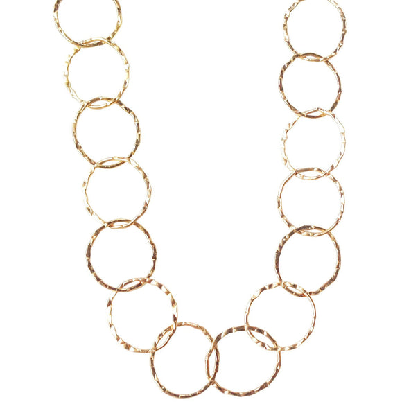 Bella Hammered Circle Chain Necklace