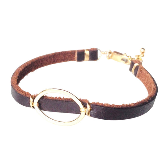 Brea Gold Oval Leather Wrap