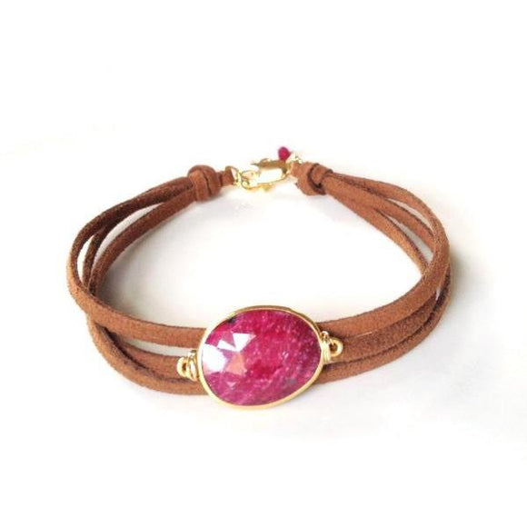 Brea Suede Ruby Quartz Wrap