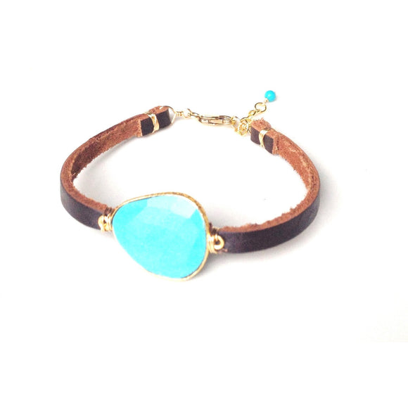 Brea Turquoise Single Leather Wrap