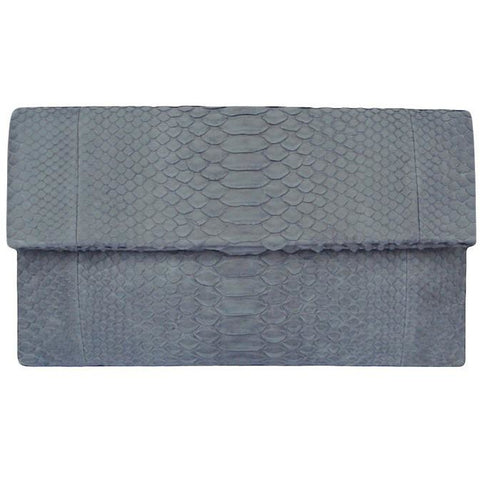 Abria Blue Grey Python Clutch Handbag