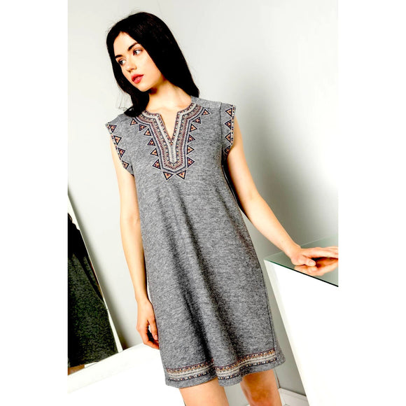 Scarlet Embroidered Knit THML Dress FTM1282-1