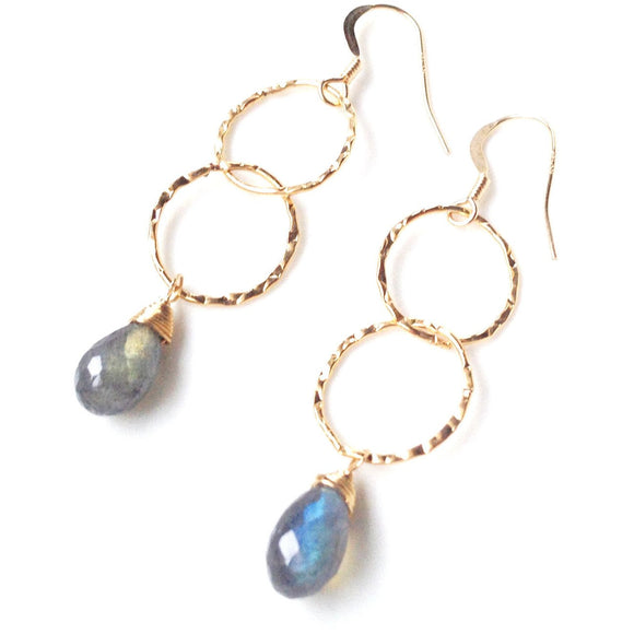 Genoa Hammered Gold Oval Drop Gold Earrings