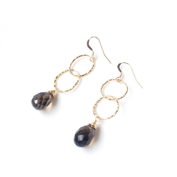 Genoa Stone Hammered Gold Oval Drop Earrings