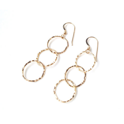 Genoa Triple Hammered Oval Earrings