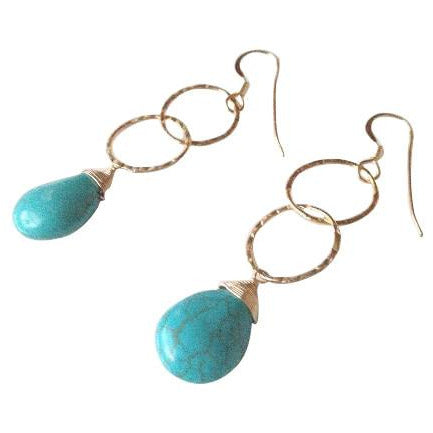 Genoa Turquoise Hammered Oval Drop Gold Earrings