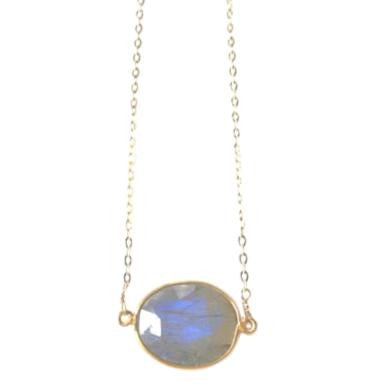 Grace Stone Bezel Pendant Necklace
