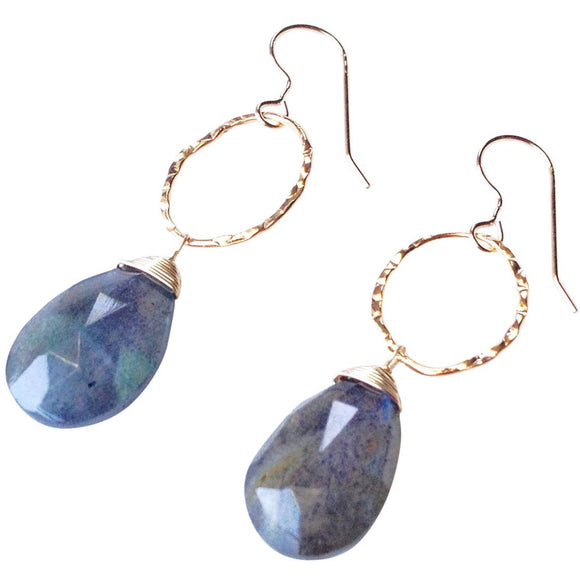 Greta Hammered Oval Stone Earrings