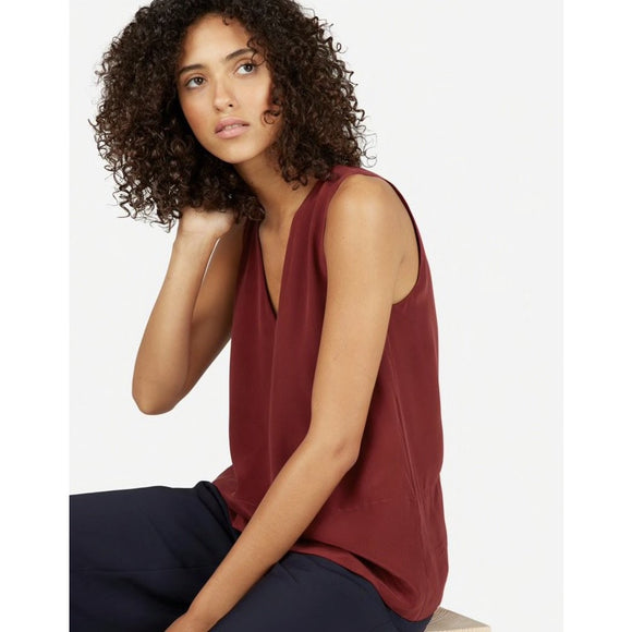 Ali Wine Deep V Sleeveless Top