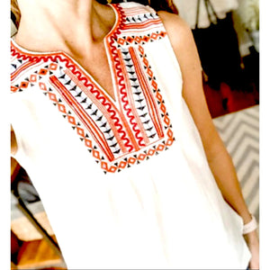 Aris Cream Embroidered Top FTM1468