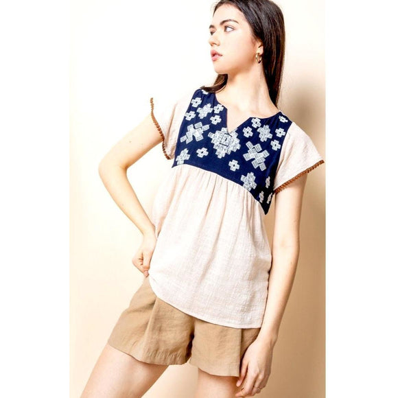 Ivonne THML Short Sleeve With Embroidery Top