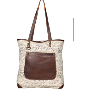 Layton Canvas Outside Pocket Leather Tote
