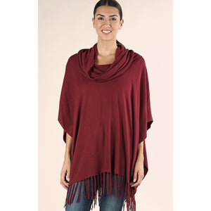 Emeila Fringe Poncho Lovestitch - Deep Red