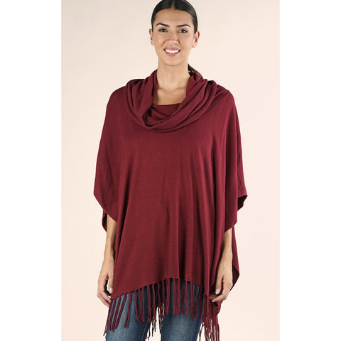 A Amelia Fringe Poncho Lovestitch - Deep Red
