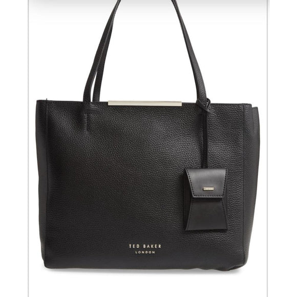 Ted Baker London Black Leather Tote Handbag-Fig Tree Jewelry & Accessories