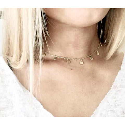 Lauren Dangle Gold Circle Choker