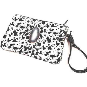 Brio Agate Grey and Black Cowhide Wristlet Handbag