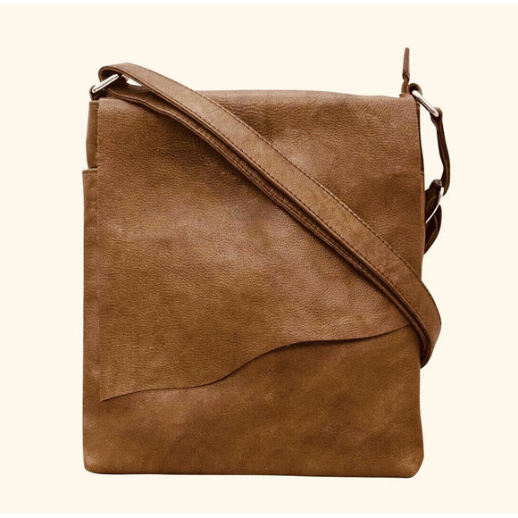 Kara Brown Medium Leather Raw Edge Flap Crossbody