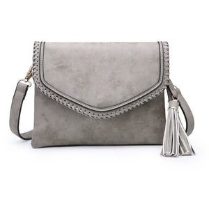 Fabiola Grey Whipstitch Crossbody/Clutch