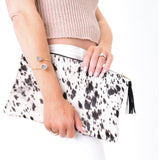 Lyn P Grey White Tassel Cowhide Clutch Handbag