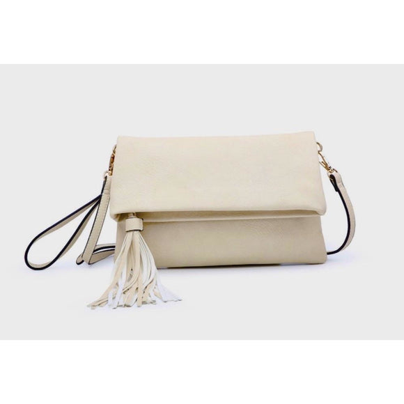 Jen Cream Foldover Tassel Crossbody Handbag