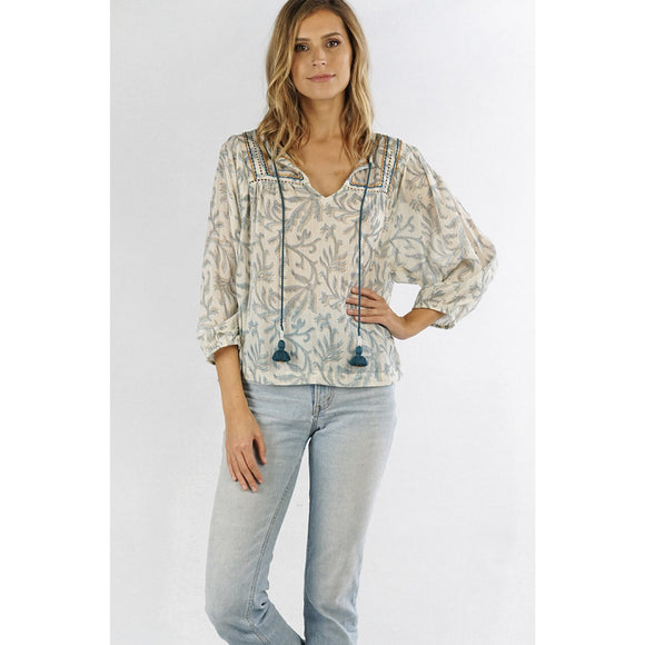 Nora Printed Overlay Tassel Lovestitch Top