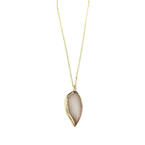 Abley Agate Sliced Stone Gold Chain Necklace