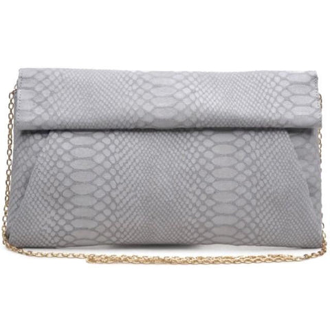 Emilia Grey Python Vegan Clutch Crossbody Handbag
