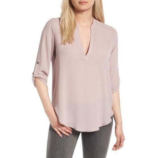 Aspen Gull Grey Lush Split Neck Crepe Top t7131-I