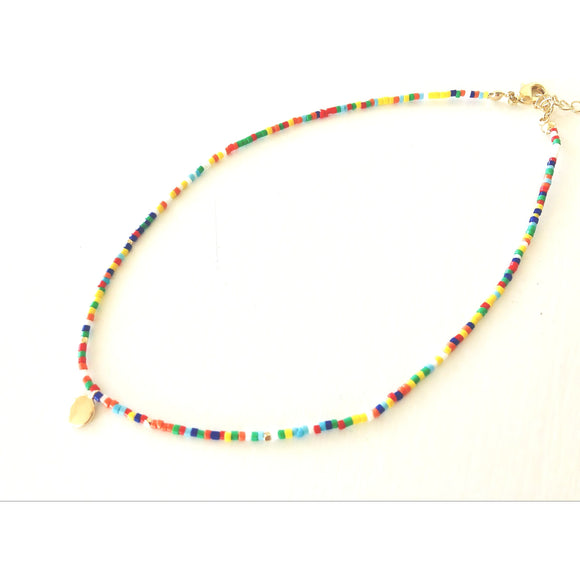 Lauren Muti Color Gold Circle Beaded Choker Necklace