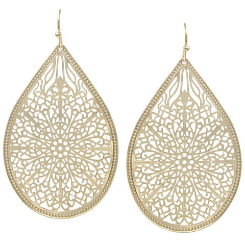 Kate Filigree Matte Gold Teardrop Earrings