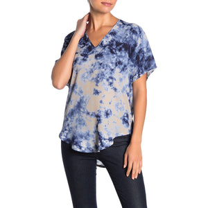 Lia Blue Tie Dye Lush Deep V Top t9977-i-Fig Tree Jewelry & Accessories