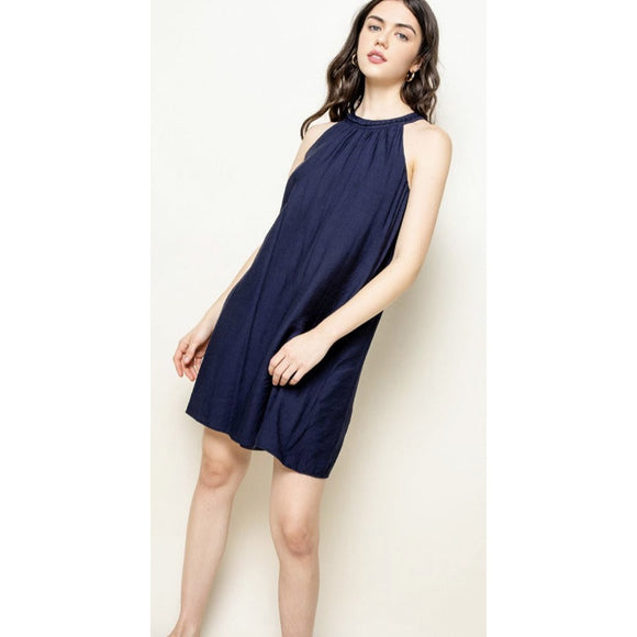 Leah THML Navy Halter Dress