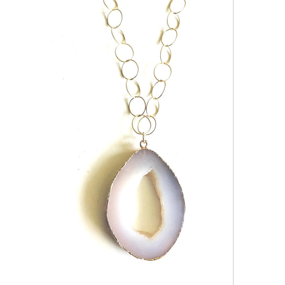Annalise Geode Sliced Druzy Long Gold Necklace