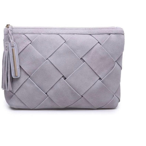 Moda Luxe Eleanor Grey Suede Clutch