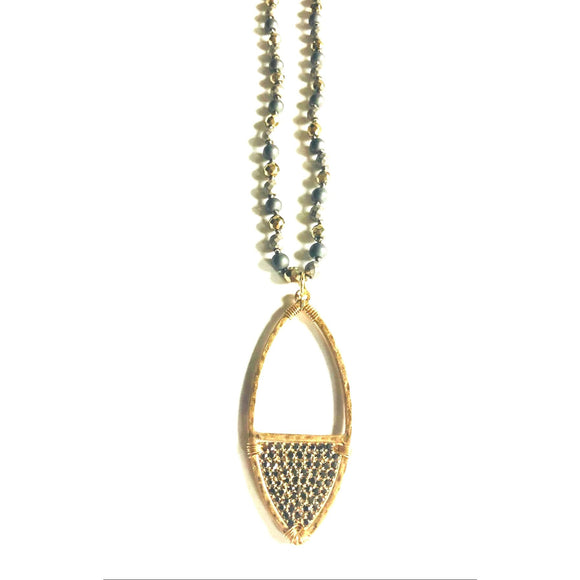 Abley Pyrite Pendant Beaded Long Necklace-Fig Tree Jewelry & Accessories