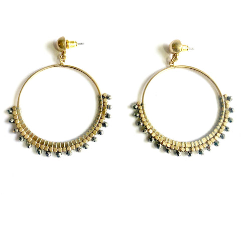 Alisa Round Pyrite Beaded Earrings