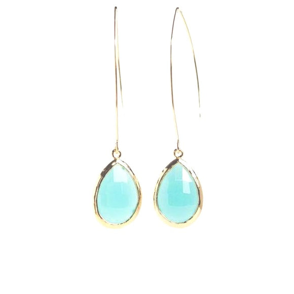 Turin Green Chalcedony Bezeled Earrings