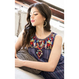 Thea THML Blue Embroidered Top