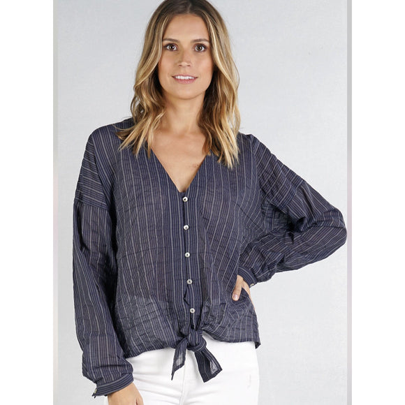 Alisa Navy Light Weight Tie Top Lovestitch