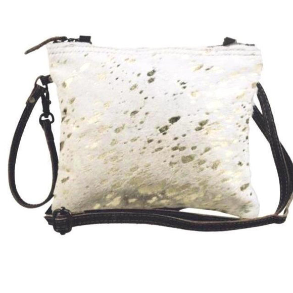 Brio Cream Gold Cowhide Crossbody With or Without Agate