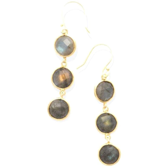 Abria Labradorite Triple Drop Earrings