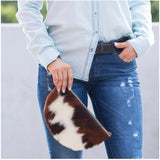 Andi Crescent B Cowhide Silver Wristlet